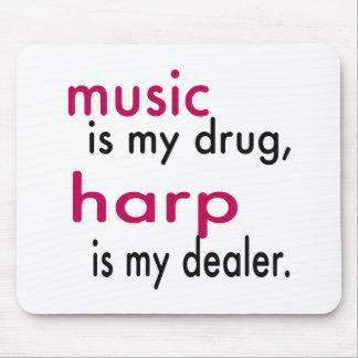 Music Is My Drug Harp Is My Dealer Mousepad