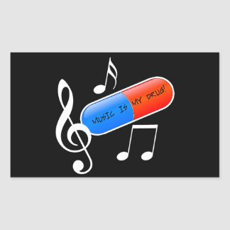 Music is My Drug! Rectangular Sticker
