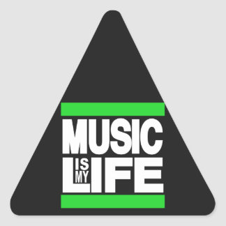 Music is My Life Green Triangle Sticker