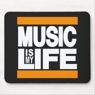 Music is My Life Orange Mouse Pad