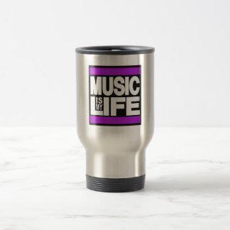 Music is My Life Purple Stainless Steel Travel Mug