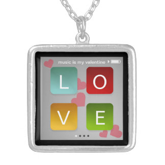 Music is my Valentine ipod touch screen inspired Square Pendant Necklace