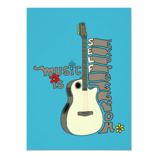 Music is Self Expression Guitar 14 Cm X 19 Cm Invitation Card