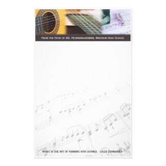 Music is thinking with sound Guitar Personalised Stationery