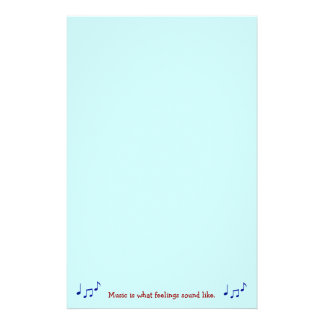 Music Is What Feelings Sound Like Stationary Personalized Stationery