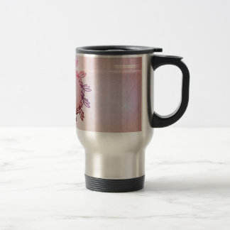 Music, key notes on a button made of floral elemen stainless steel travel mug