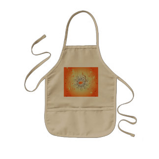 Music, key notes with floral elements kids apron