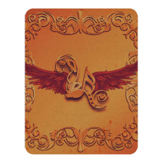 Music, key notes with wings 4.25x5.5 paper invitation card
