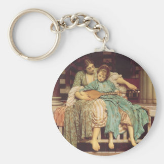 Music Lesson by Leighton, Vintage Victorian Art Key Chains