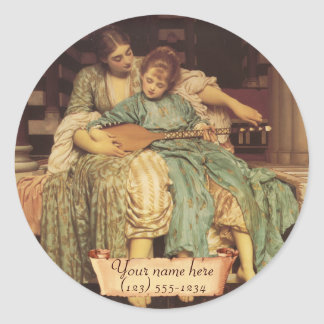 """Music Lesson"" Pre-Raphaelite Bookplate Classic Round Sticker"
