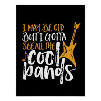 Music Lover Guitar Player and Cool Bands Poster