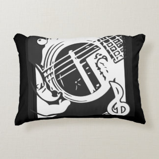Music Lover Guitar Playing black and white Decorative Cushion