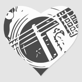 Music Lover Guitar Playing black and white Heart Sticker