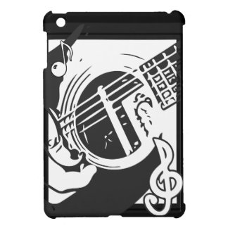 Music Lover Guitar Playing black and white iPad Mini Cover