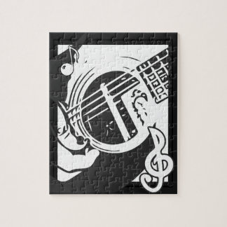 Music Lover Guitar Playing black and white Jigsaw Puzzle