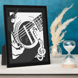 Music Lover Guitar Playing black and white Plaque