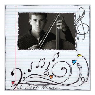music lover photo card 13 cm x 13 cm square invitation card