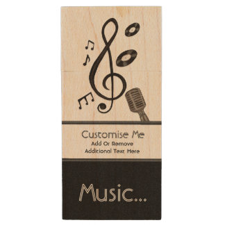 Music Lover Wood USB 2.0 Flash Drive