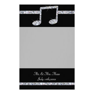 Music Lovers Diamond Shimmer On Black Wedding Stationery Paper