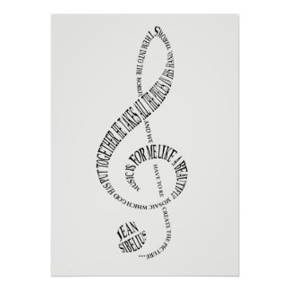 Music Lovers Gift Poster - Treble Clef Word Art