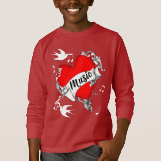 Music Lovers Red Love Heart Tattoo Style Graphic T-Shirt