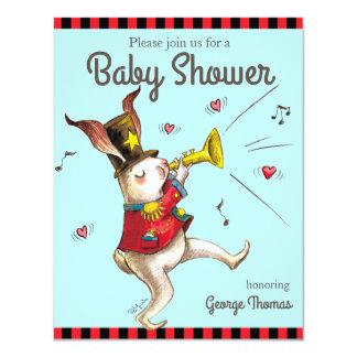 Music Maker!Rabbit baby shower 11 Cm X 14 Cm Invitation Card