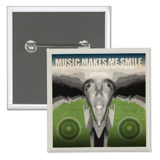 Music Makes Me Smile 15 Cm Square Badge