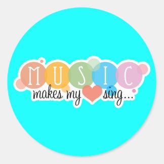 Music Makes My Heart Sing Round Sticker