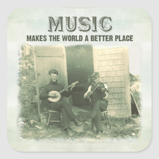 Music makes the world a better place vintage photo square sticker
