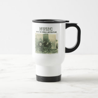 Music makes the world a better place vintage photo travel mug