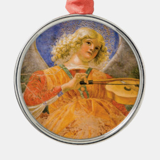 Music Making Angel by Forli Silver-Colored Round Decoration