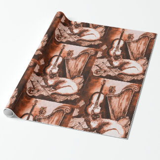 MUSIC MAKING CAT ,OWL,Musical Instruments Brown Wrapping Paper
