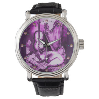 MUSIC MAKING CAT WITH OWL ,Purple White Watch