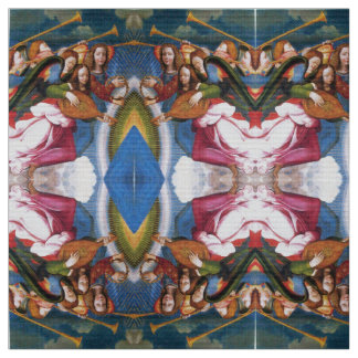 MUSIC MAKING CHRISTMAS ANGELS Pink Blue Fabric