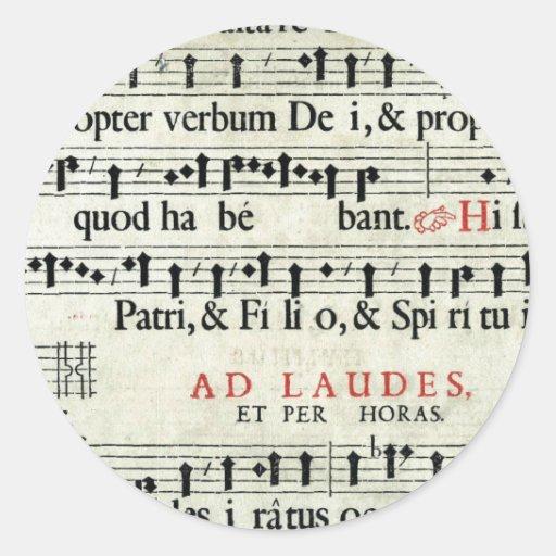 Music Manuscript Round Sticker