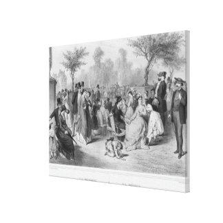 Music, military concert in a public garden canvas prints