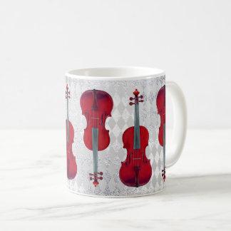 Music Mug Violin Silver Gray Sparkly Texture
