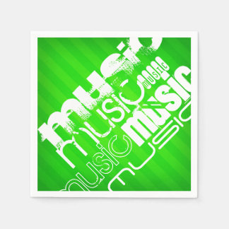Music; Neon Green Stripes Paper Serviettes