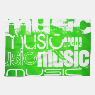 Music; Neon Green Stripes Kitchen Towel