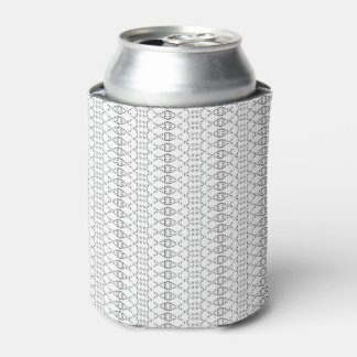 Music Nordic Knit Text ASCII Art Black and White Can Cooler