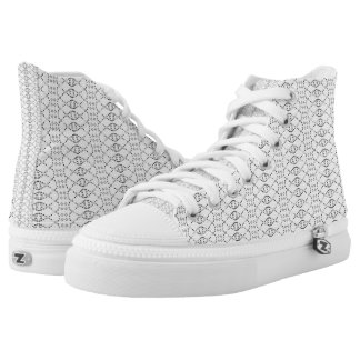 Music Nordic Knit Text ASCII Art Black and White High Tops