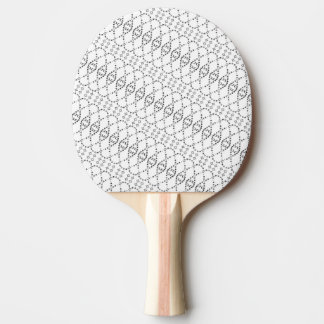 Music Nordic Knit Text ASCII Art Black and White Ping Pong Paddle