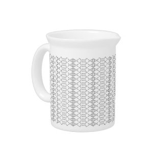 Music Nordic Knit Text ASCII Art Black and White Pitcher