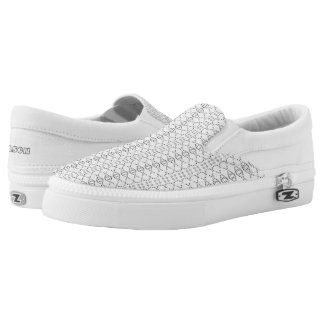 Music Nordic Knit Text ASCII Art Black and White Slip-On Shoes