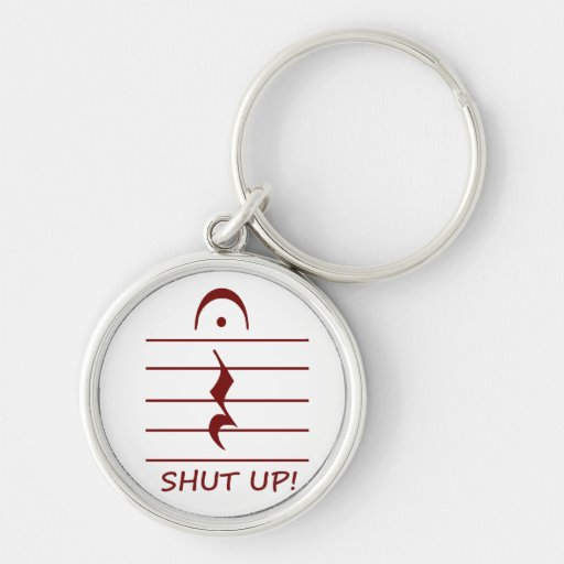 Music Notation Rest with Shut up Maroon Key Chains