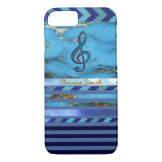 music note, blue stripes and name new iPhone 8/7 case