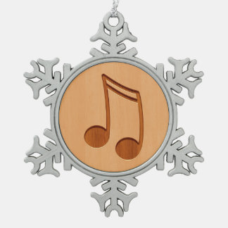 Music note engraved on wood design snowflake pewter christmas ornament
