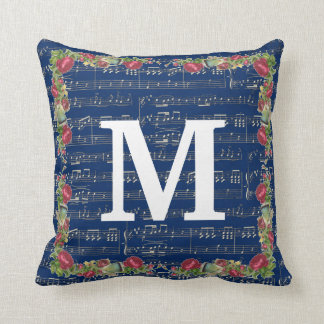 "Music Note Flower Throw Pillow 16"" x 16"""
