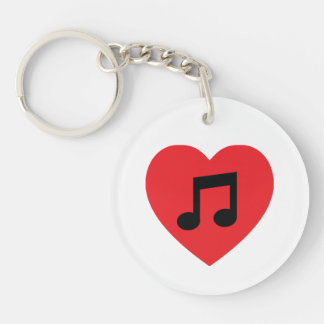 Music Note Heart Acrylic Keychain