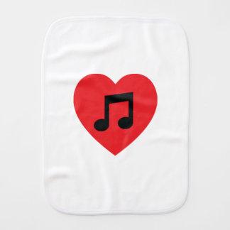 Music Note Heart Burp Cloth